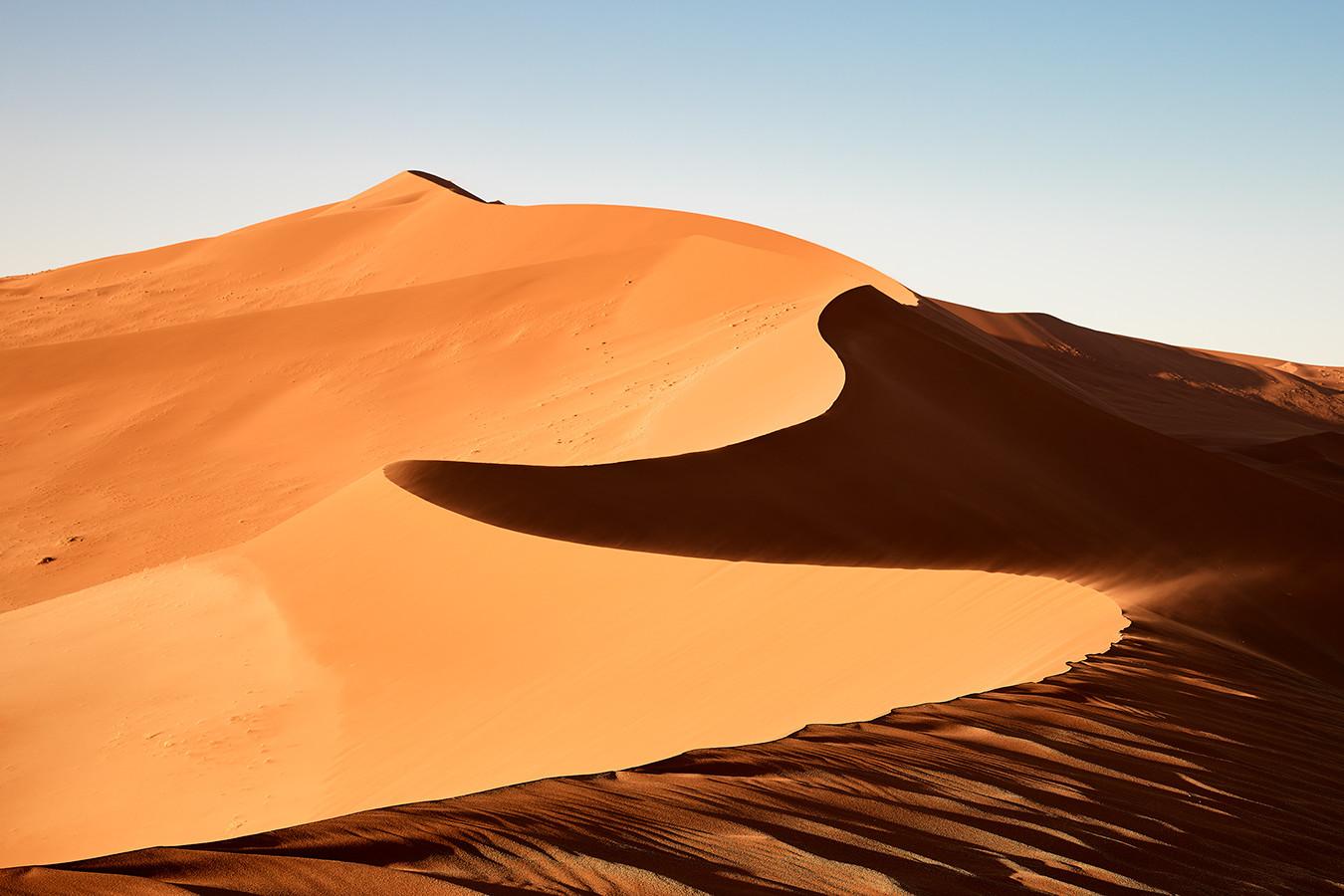 hohe orange-goldenen Sanddünen im Hintergrund ein strahlend blauer Himmel